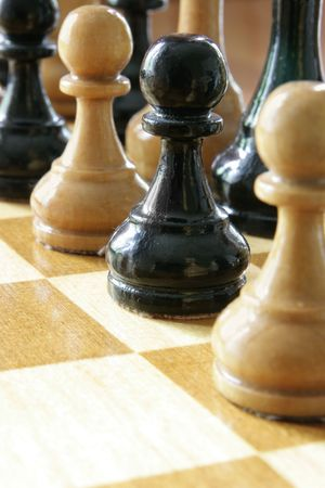 coalition: Black and white chess pieces together, coalition concept Stock Photo