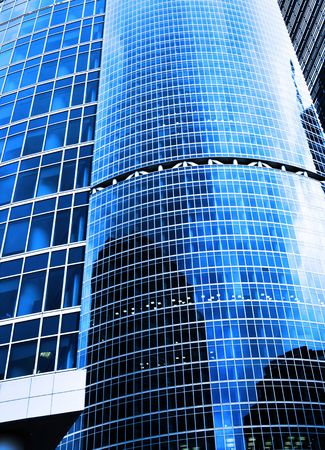 Modern skyscrapers close-up toned in blue color Stock Photo - 3257800