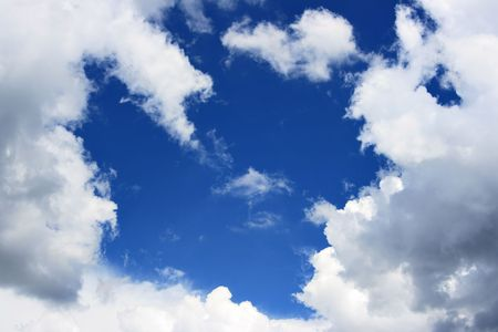 as: Blue sky and frame from clouds, may be used as background