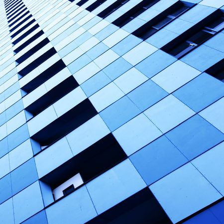 immovable: Wall of modern apartment skyscraper. Moscow. Russia. Stock Photo