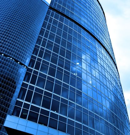 Modern skyscrapers close-up toned in blue color Stock Photo - 3430633