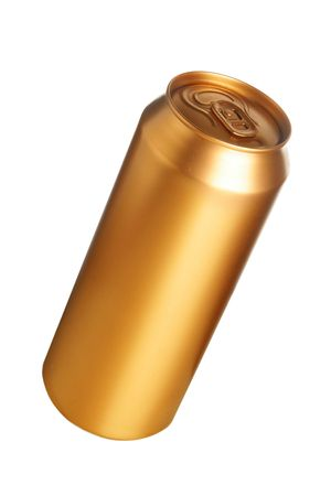 Golden beer can isolated over white background photo
