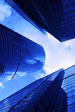 Modern skyscrapers close-up toned in blue color Stock Photo - 3459551