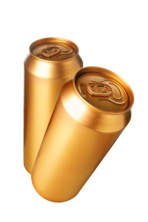 Two gold beer cans isolated over white background photo