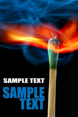 explode: Burning match over black background and space for your own text Stock Photo