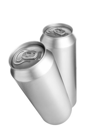 Two aluminium beer cans isolated over white background photo