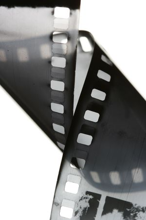 perforation: 35 mm black and white film isolated over white background