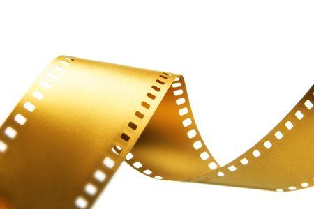 Gold 35 mm film over geïsoleerde witte achtergrond Stockfoto