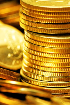 Stack of gold coins close-up photo