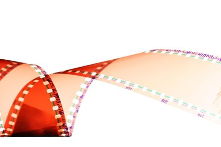 perforation: Processed 35 mm film isolated over white background