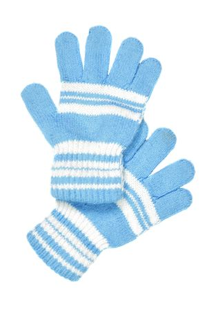 children's wear: Childrens wear - woollen gloves isolated over white background Stock Photo