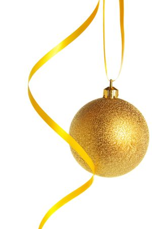 bedeck: Gold christmas ball isolated over white background Stock Photo