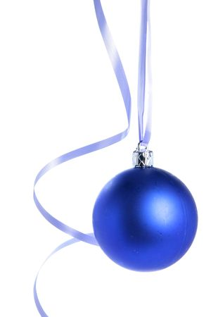 bedeck: Blue christmas ball isolated over white