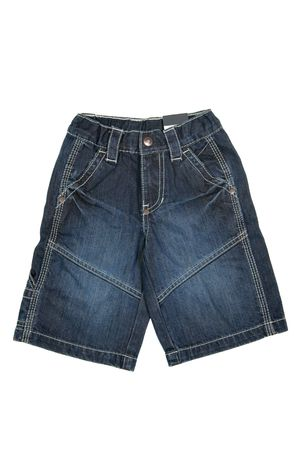 children's wear: Childrens wear - jean shorts isolated over white background