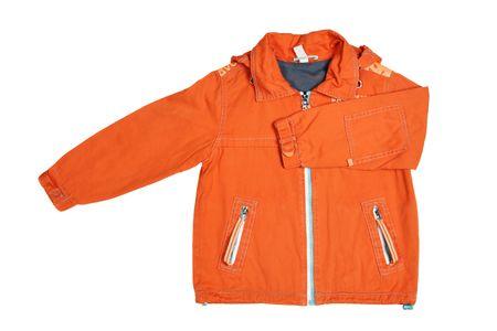 children's wear: Childrens wear - orange jacket isolated over white background