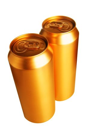 Two gold beer cans isolated over white  photo