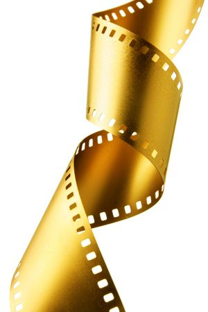 mm: Gold 35 mm film strip isolated over white background Stock Photo