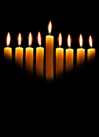 hanuka: Hanukkah candles over black background with space for your text
