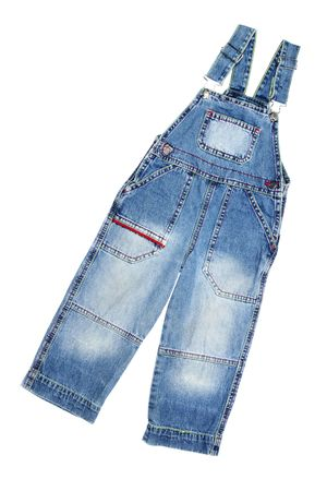 Children's wear - jean overalls isolated over white background