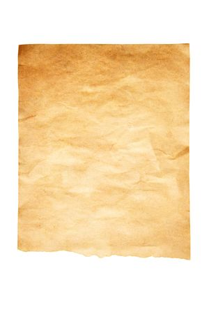 Old paper isolated over white background photo