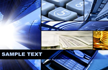 Assemblage of bussines theme photos with space for your own text Stock Photo - 3682359