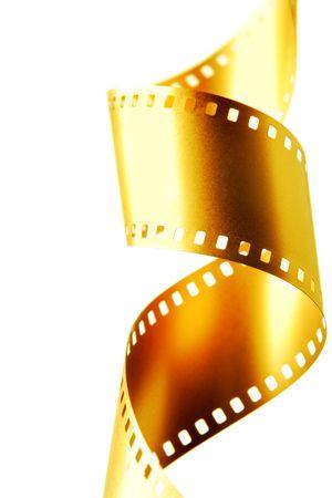 35: Oro pel�cula de 35 mm aislado m�s de fondo blanco