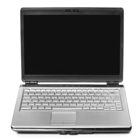 Modern laptop isolated over a white background photo