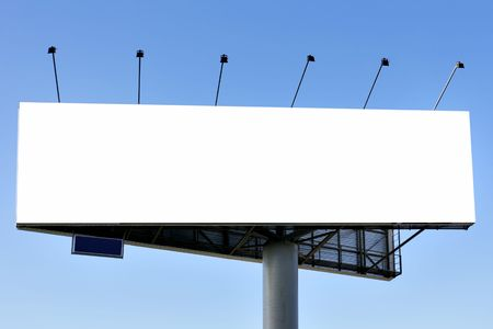 bill board: Blank big billboard over blue sky, put your own text here Stock Photo
