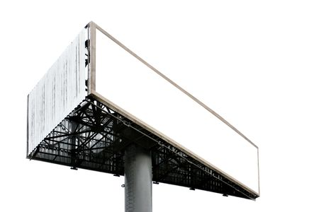 Three-cornered blank big billboard isolated over white background photo