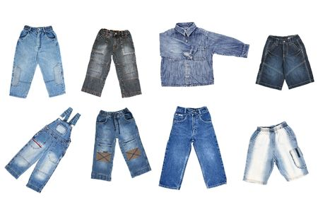 children's wear: Jeans childrens wear isolated over white background