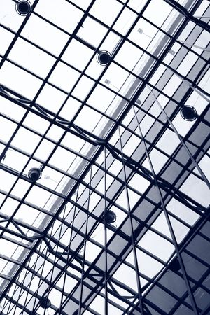 view of an atrium in a building: Transparent ceiling of office building, may be used as background