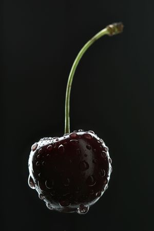 shiny black: Cherry with water drops close-up over black background Stock Photo