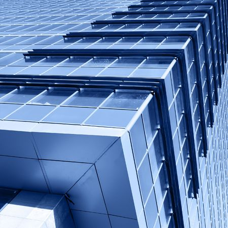 Corner of modern office building toned in blue color Stock Photo - 3829746