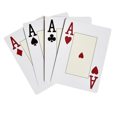 Four aces close-up isolated over white background photo