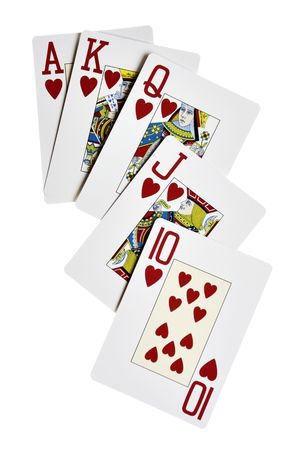 Hearts royal flush isolated over white background