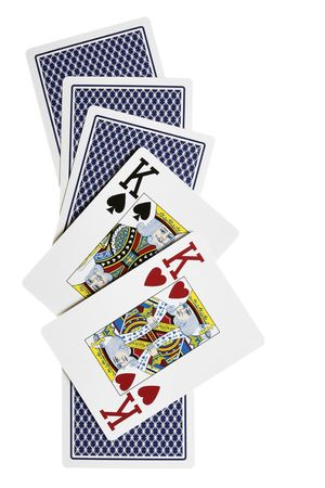 Two kings and cards from back isolated over white background