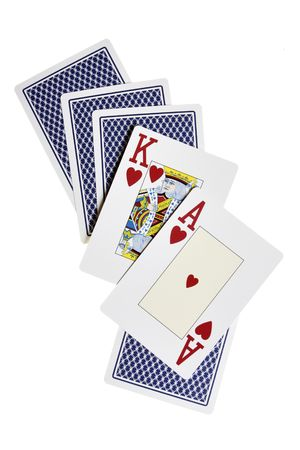 Ace, king and cards from back isolated over white background