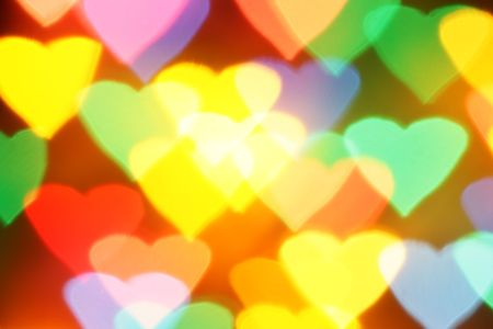 yellow shine: Colorful hearts bokeh, may be used as background Stock Photo