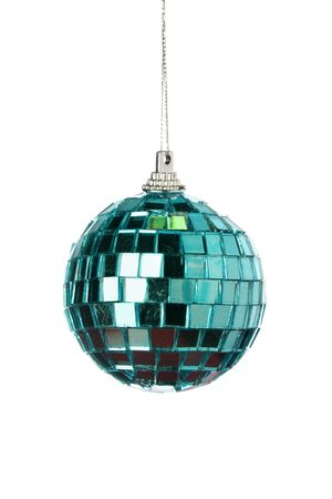 bedeck: Green mirror Christmas ball isolated over a white background Stock Photo