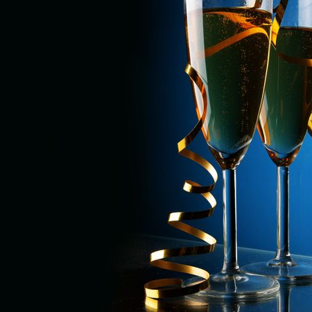 Two glasses of champagne with space for your own text on left Stock Photo - 3938701