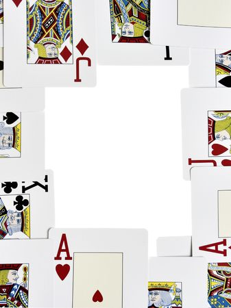 Frame made from playing cards isolated over white background