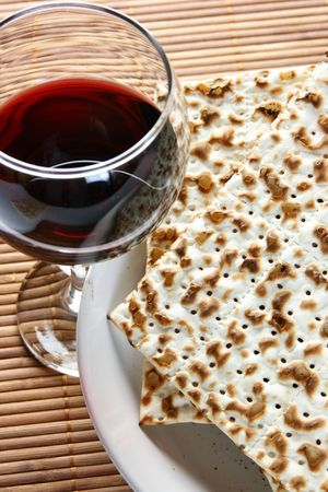 seder: Wine and matzoh - elements of jewish passover supper