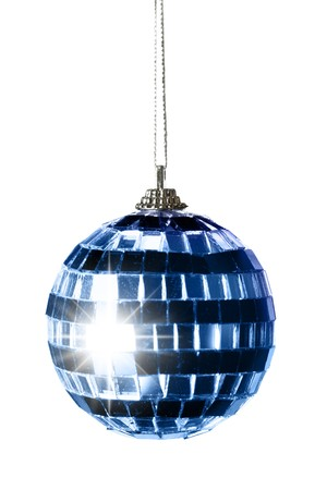 Blue striped Christmas ball isolated over a white background photo