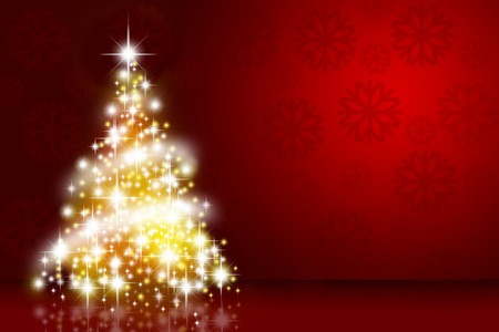 gold tree: Christmas tree over deep red background with snowflakes Stock Photo