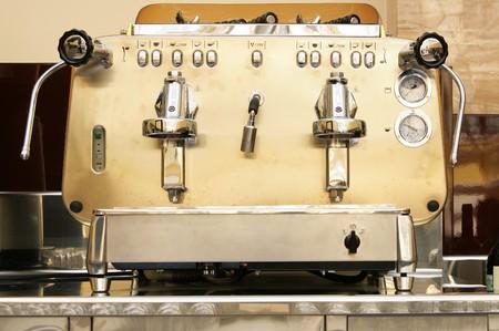 Big metal coffee machine in bar close-up