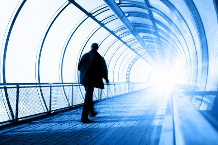 life after death: After life - Man going in tunnel towards to Light
