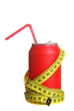 Diet cola and measuring tapes isolated over white background photo