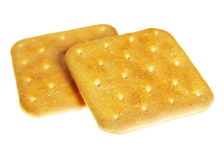 Two crackers isolated over the white background photo