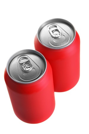 Two red drink cans isolated over white background photo