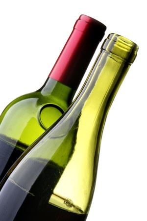 Two bottles of red wine isolated over white background photo